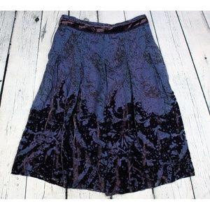 Elie Tahari Velvet Burnout Raven Silk Blend Skirt
